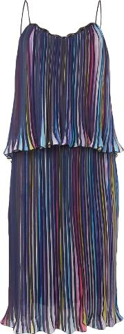 Little White Lies , Thin Strap Overlay Pleated Mini Dress, Multi Coloured
