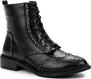 Lost Ink , August Pin Stud Brogued Ankle Boots, Black