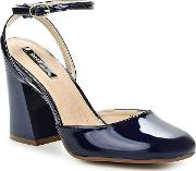 Lost Ink , Flick Flared Heel Dolly Courts, Blue
