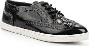 Lost Ink , Tyne Brogue Lace Detail Point Plimsolls, Black