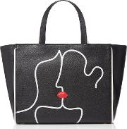 Lulu Guinness , Kissing Lips Cesca Leather Tote, Black