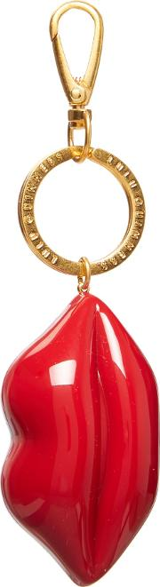 Lulu Guinness , Perspex Lips Small Keyring, Red