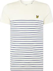 Lyle And Scott , Men's  Breton Crew Neck Short Sleeve T Shirt, Blue