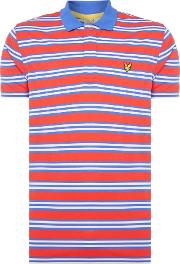 Lyle And Scott , Men's  Golf Dunbar All Over Stripe Polo, Cobalt