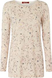 Max Mara Studio , Corte Longsleeve Crew Neck Floral Knit, Pink