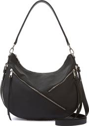 Mint Velvet , Mint Velvet Lola Black Double Zip Hobo Bag, Black