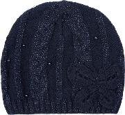 Monsoon , Sparkle Cable Butterfly Beanie, Blue