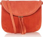 Oasis , Leather Luna Cross Body Bag, Coral
