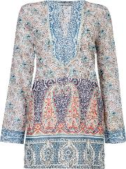 Oui , Longsleeve Paisley Printed Tunic, Navy & Red