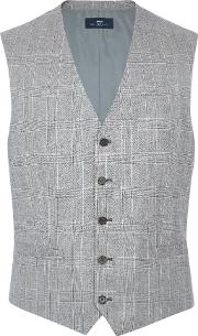 Paul Costelloe , Men's  Charing Check Wool Suit Waistcoat, Taupe