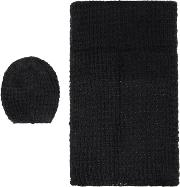 Pieces , Knitted Scarf And Hat Gift Set, Black