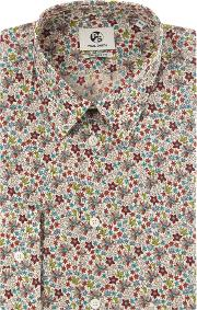 Ps By Paul Smith , Men's  Formal Long Sleeve Floral Print Shirt, White