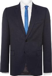 Ps By Paul Smith , Men's  Notch Broken Stripe Suit Jacket, Mid Blue