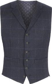 Racing Green , Men's  Stanhope Navy Check Waistcoat, Navy