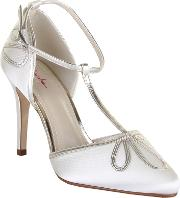 Rainbow Club , Elspeth Retro Gold Ankle Strap Shoes, Ivory