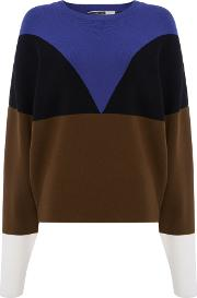 Sportmax Code , Garage Colour Block Knit Jumper, Khaki