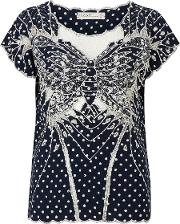Sugarhill Boutique , Butterfly Polka Top, Navy