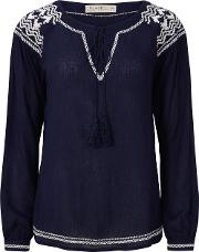 Sugarhill Boutique , Windmill Embroidered Boho Top, Navy