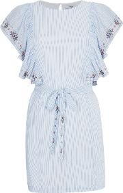 Suncoo , Cassandre Embroidered Tie Waist Dress, Blue