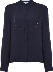 Suncoo , Long Sleeves Metallic Trim Blouse, Dark Blue