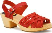 Swedish Hasbeens , Braided High Sandals, Red