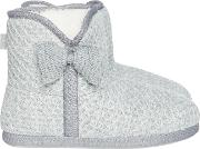 Totes , Lurex Knit Big Bow Bootie, Grey