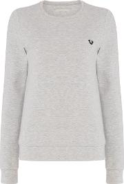 True Religion , Crew Neck Sweater With Zip Detail, Grey Marl