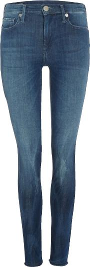 True Religion , Halle Jeans With Raw Hem In Blue Used, Denim Light Wash
