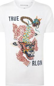 True Religion , Men's  Guardian Dragon Graphic T Shirt, White