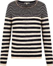 Uttam Boutique , Embellished Stripe Print Jumper, Navy