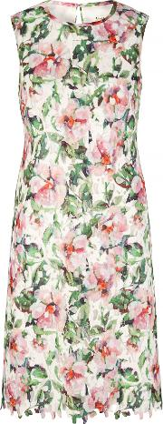 Uttam Boutique , Floral Print Lace Shift Dress, Multi Coloured