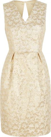 Uttam Boutique , Gold Daisy Jacquard Party Dress, Yellow