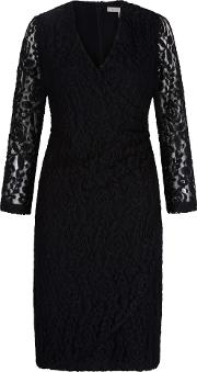 Uttam Boutique , Lace Wrap Front Pencil Dress, Black