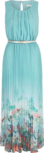 Uttam Boutique , Oriental Print Pleated Maxi Dress With Belt Inclu, Blue