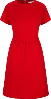 Uttam Boutique , Textured Ponte Day Dress, Red