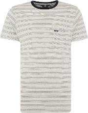 Volcom , Men's  Striped Crew Neck T Shirt, White