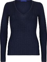 Winser London , Merino Wool Rib V Neck Jumper, Navy