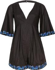 Wolf & Whistle , Blue & Black Embroidered Playsuit, Black