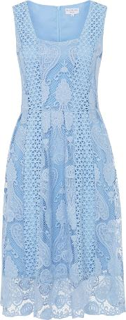 Wolf & Whistle , Crochet Lace Prom Dress, Blue