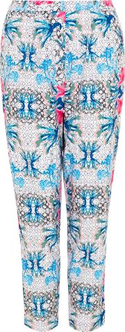 Wolf & Whistle , Geometric Floral Print Trousers, White