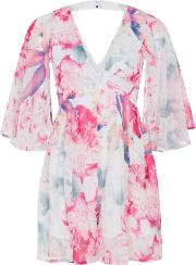 Wolf & Whistle , Jessica Butterfly Sleeve Playsuit, Pink