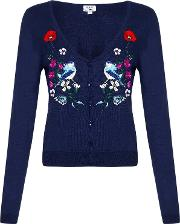 Yumi , Floral Bird Embroidered Cardigan, Blue
