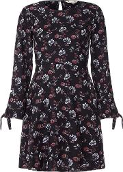 Yumi , Floral Print Long Sleeve Shift Dress, Black