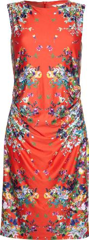 Yumi , Sleeveless Mirrored Floral Dress, Red