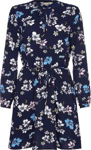Yumi , Tie Dress With Floral Print, Navy