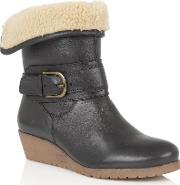 Lotus , Madara Leather Ankle Boots, Black
