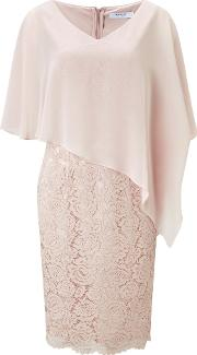 Jacques Vert , Lace And Chiffon Dress, Neutral