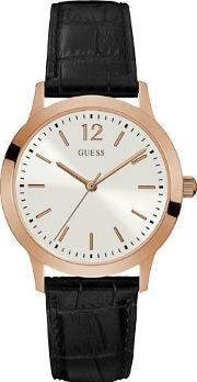 Guess , W0922g6 Gents Leather Strap Dress Watch, Rose Gold