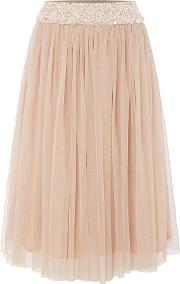 Lace And Beads , Embellished Midi Skirt, Pink