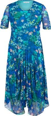 Chesca , Plus Size Floral Print Mesh Dress, Blue Multi